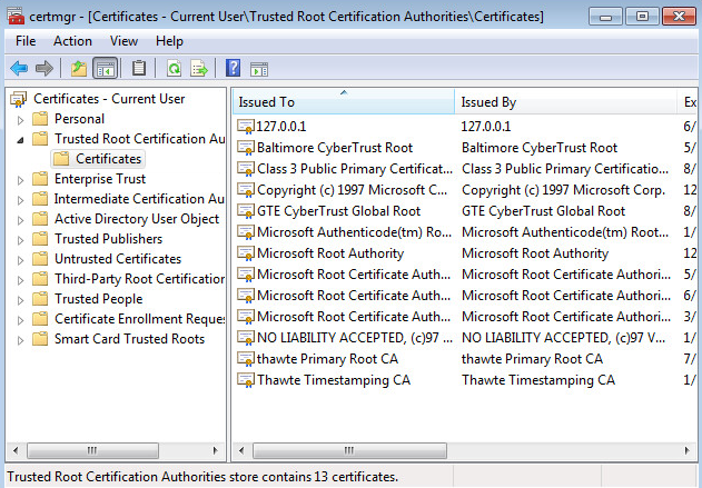 Adding the self-signed certificate as trusted to a browser