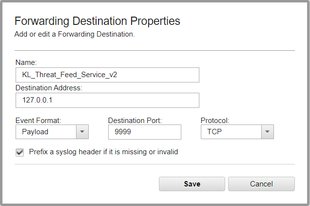 Step 3  Forwarding events from QRadar to Feed Service