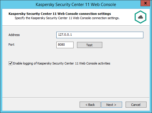 Installing Kaspersky Security Center 11 Web Console