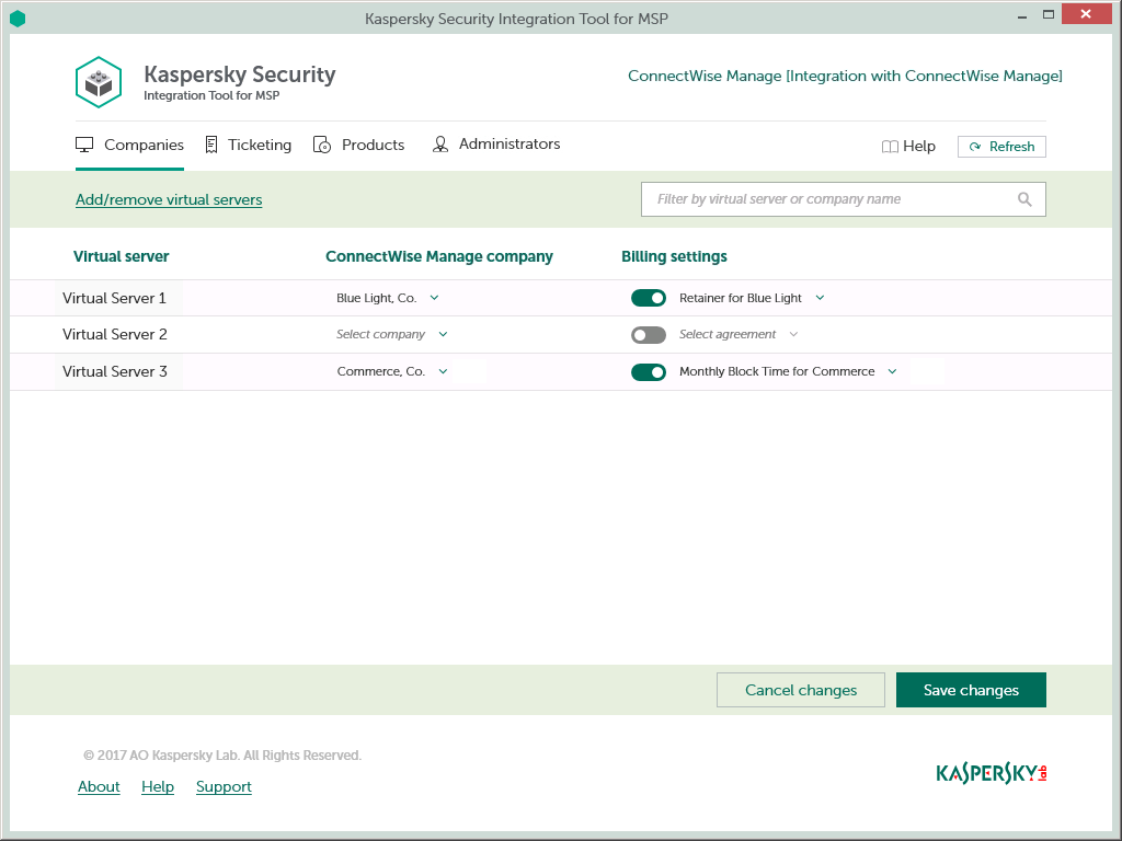 Interface of Kaspersky Security Integration with ConnectWise Manage