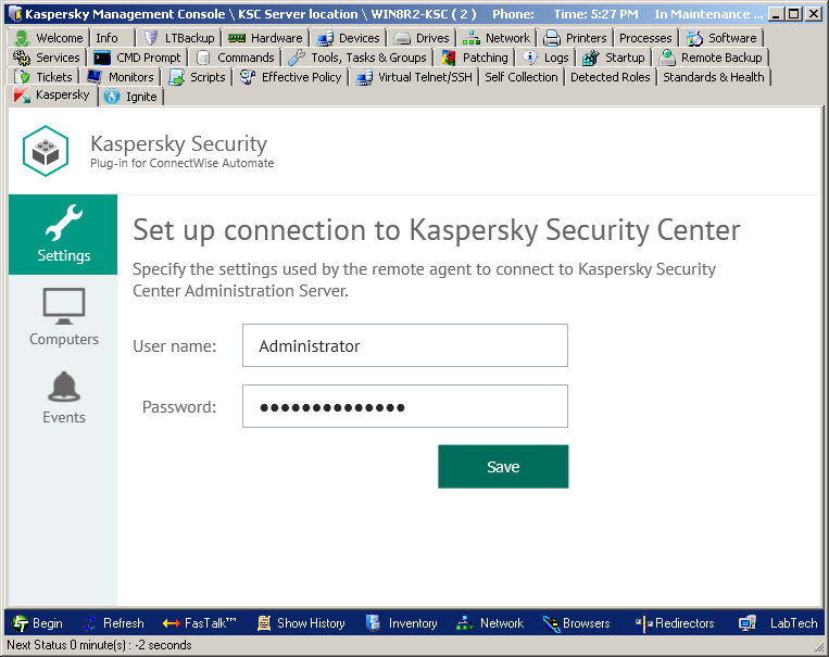 Connecting to Kaspersky Security Center Administration Server