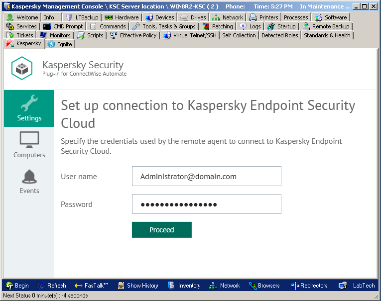 Connecting to Kaspersky Endpoint Security Cloud