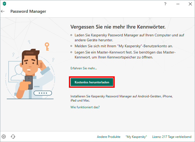 "Das Fenster ""Password Manager"" in Kaspersky Total Security"