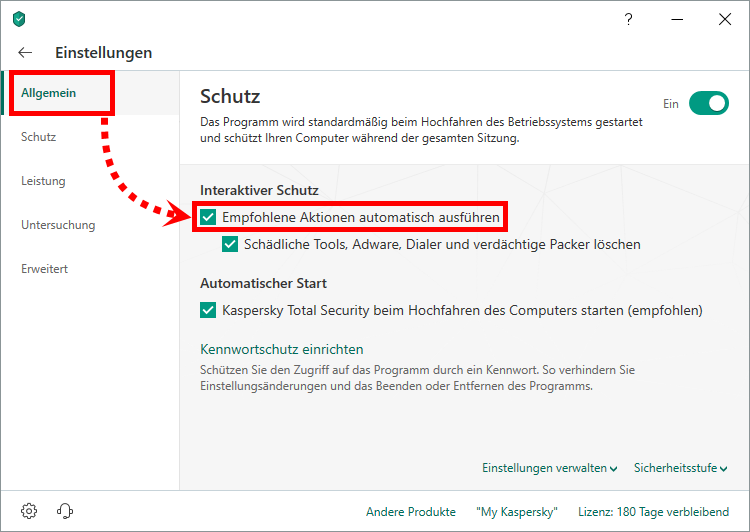 "Das Fenster ""Einstellungen"" in Kaspersky Total Security"