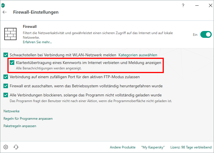 "Das Fenster ""Firewall-Einstellungen"" in Kaspersky Internet Security"