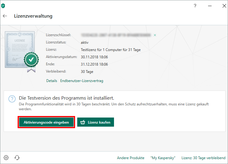 "Das Fenster ""Lizenzverwaltung"" in Kaspersky Internet Security"