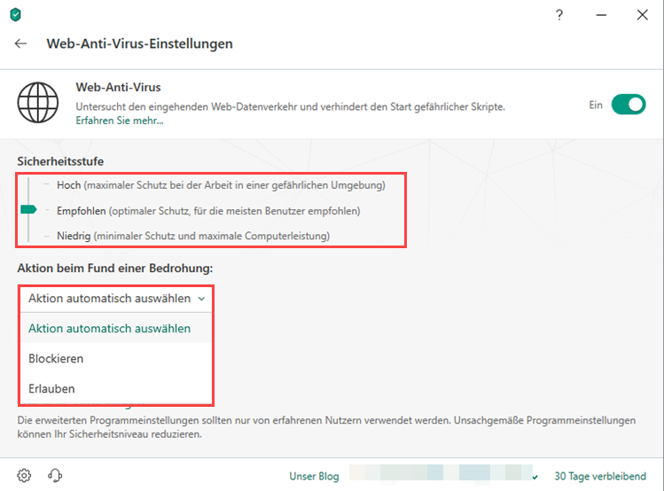 "Das Fenster ""Web-Anti-Virus-Einstellungen"" in Kaspersky Total Security"