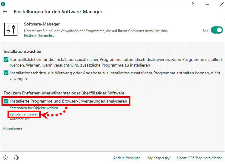 "Das Fenster ""Einstellungen für den Software-Manager"" in Kaspersky Internet Security"