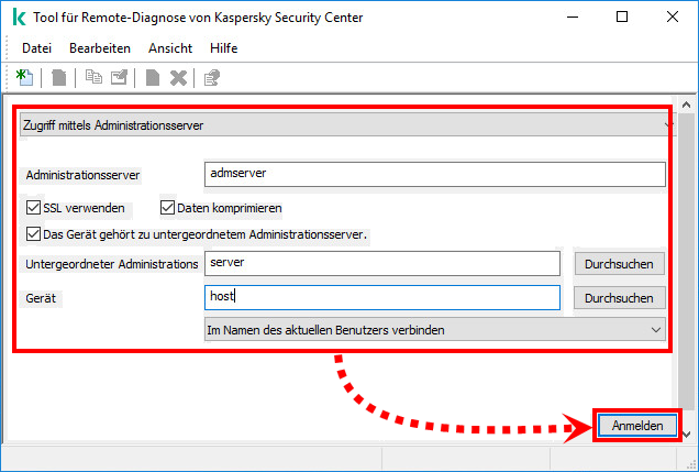 Das Fenster des Tools für Remote-Diagnose von Kaspersky Security Center