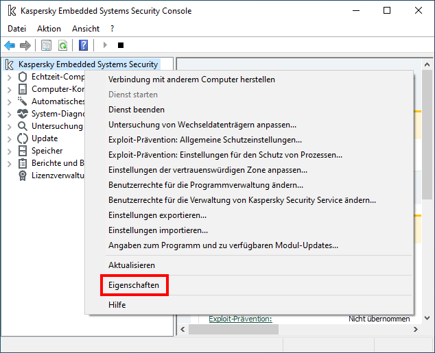 "Das Fenster ""Kaspersky Embedded Systems Security Console"""