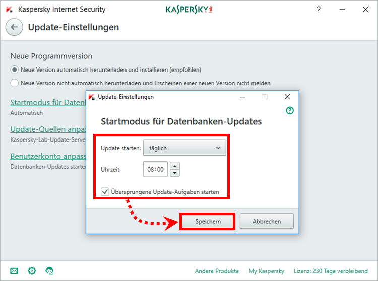 "Das Fenster ""Update-Einstellungen"" in Kaspersky Internet Security"