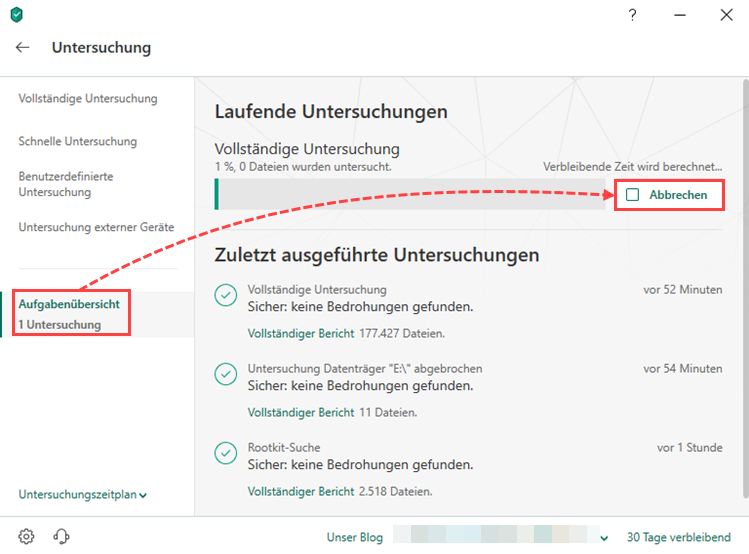 Stoppen der Untersuchung in Kaspersky Internet Security 19