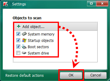 "Das Fenster ""Settings"" in Kaspersky Virus Removal Tool"