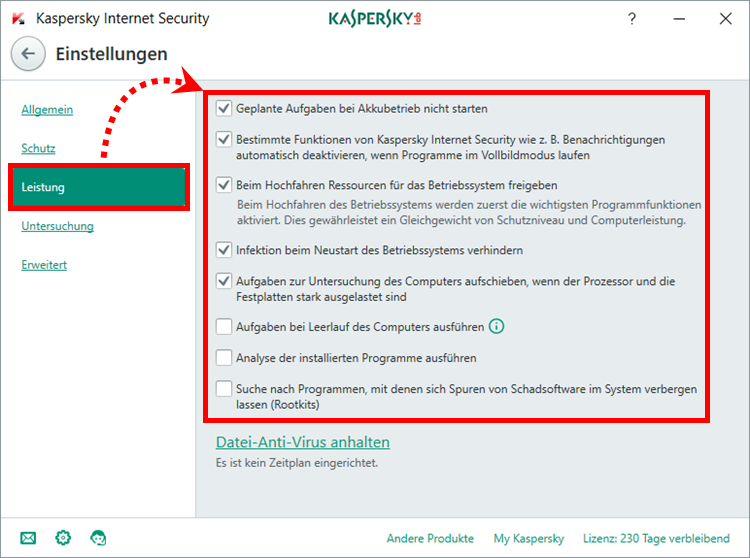 "Das Fenster ""Einstellungen"" in Kaspersky Internet Security"