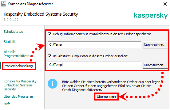 "Das Fenster ""Kompaktes Diagnosefenster"" in Kaspersky Embedded Systems Security"