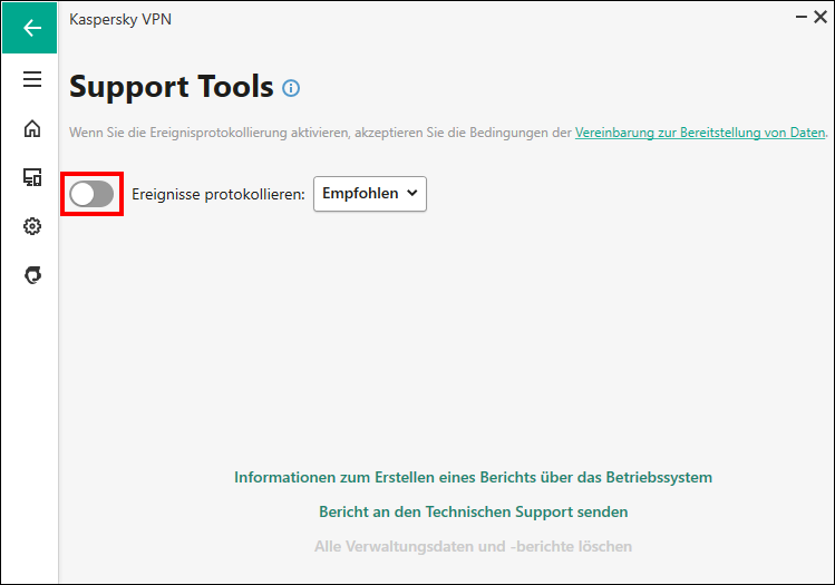 """Das Fenster """"Support Tools"""" in Kaspersky Secure Connection"""