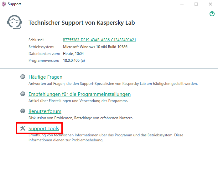 "Abbildung: Das Fenster ""Support"" in Kaspersky Security Cloud"