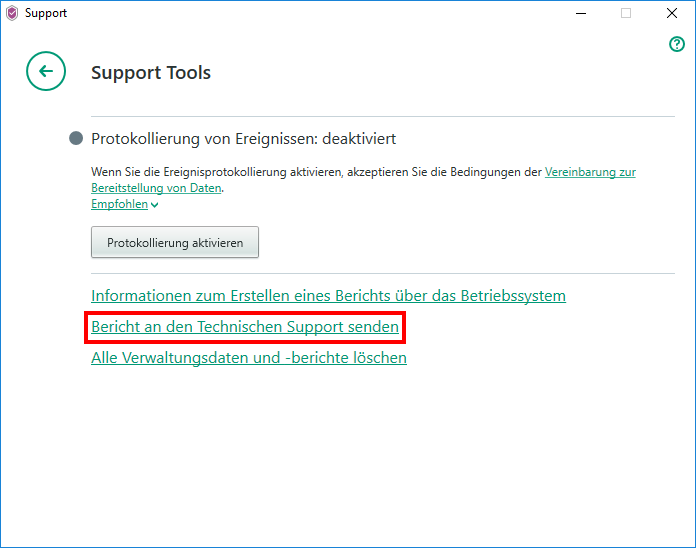 "Abbildung: Das Fenster ""Support Tools"" in Kaspersky Security Cloud"