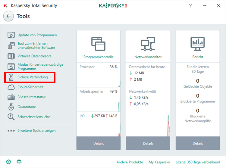 "Abbildung: Das Fenster ""Tools"" in Kaspersky Total Security 2018"
