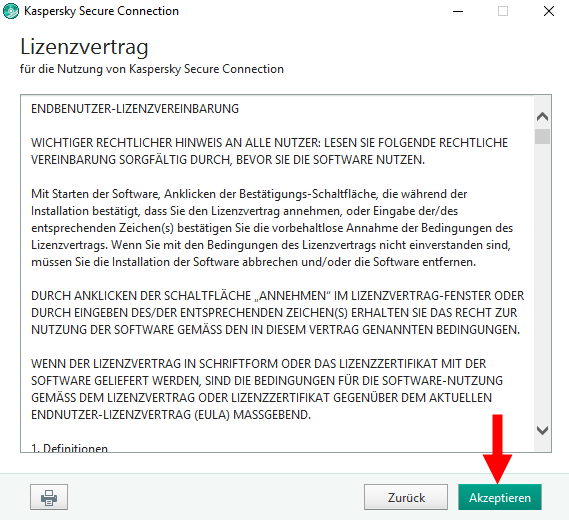 "Abbildung: Das Fenster ""Lizenzvertrag"" in Kaspersky Secure Connection"