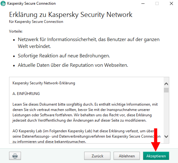 "Abbildung: Das Fenster ""Erklärung zu Kaspersky Security Network"" in Kaspersky Secure Connection"