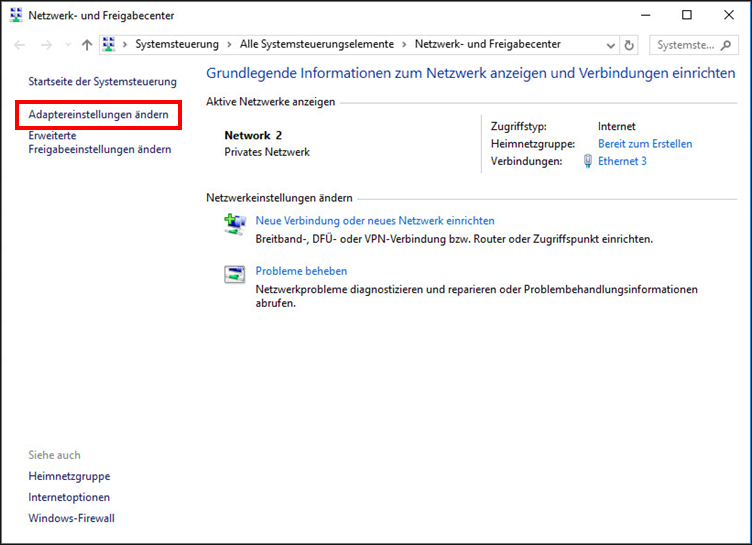 Öffnen der Adaptereinstellungen in Windows 10