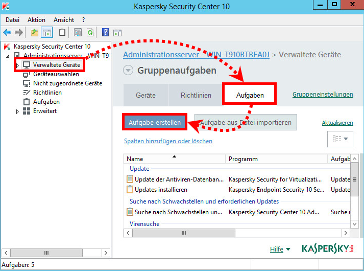 Das Fenster der Administrationskonsole des Kaspersky Security Center 10
