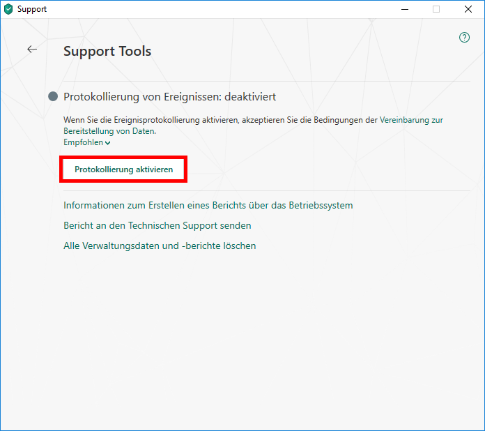 "Das Fenster ""Support Tools"" in Kaspersky Internet Security"
