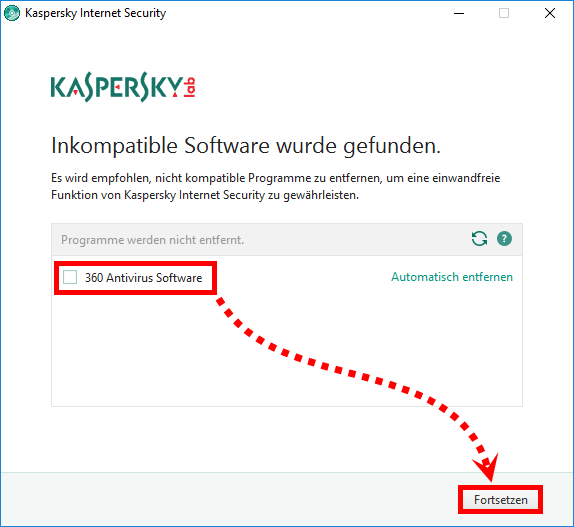 "Das Fenster ""Inkompatible Software wurde gefunden"" in Kaspersky Internet Security 2018"