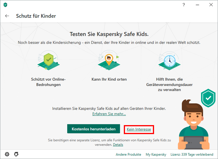 Das Hauptfenster von Kaspersky Total Security
