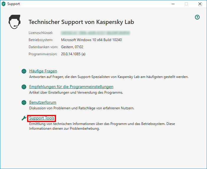 "Das Fenster ""Technischer Support von Kaspersky Lab"" in Kaspersky Security Cloud 20"