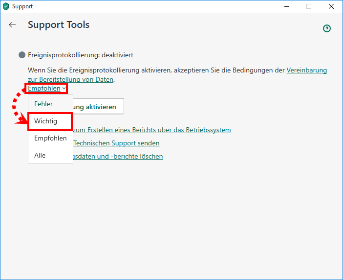 "Das Fenster ""Support Tools"" in Kaspersky Security Cloud 20"