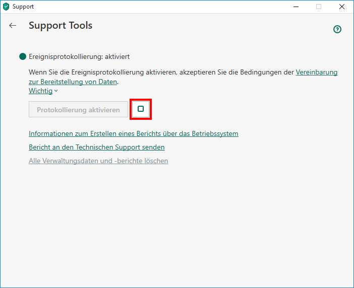 "Das Fenster ""Support Tools"" in Kaspersky Security Cloud"