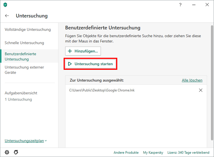 Starten der Untersuchung in Kaspersky Total Security 20