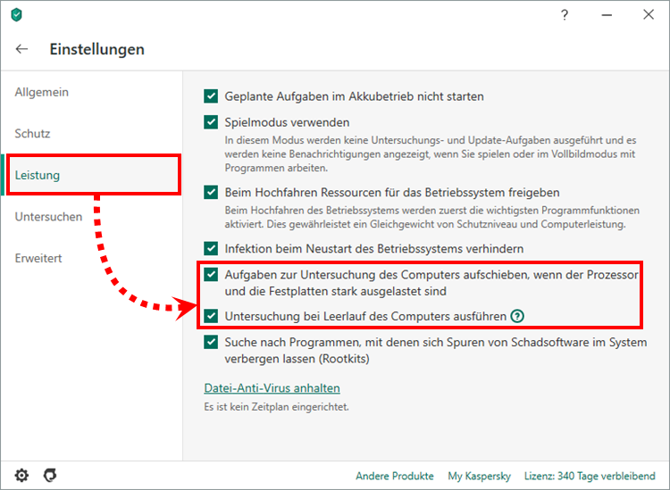 "Das Fenster ""Leistung"" in Kaspersky Total Security"