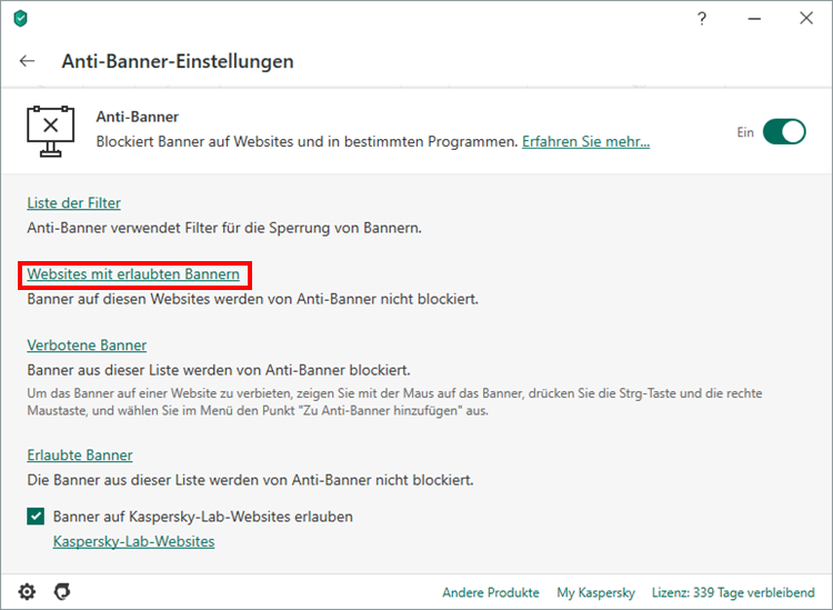 "Das Fenster ""Anti-Banner-Einstellungen"" in Kaspersky Security Cloud"