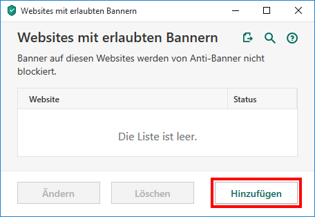 "Das Fenster ""Websites mit erlaubten Bannern"" in Kaspersky Security Cloud"