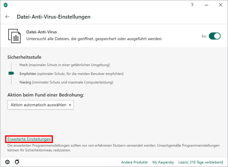 "Das Fenster ""Datei-Anti-Virus-Einstellungen"" in Kaspersky Internet Security"