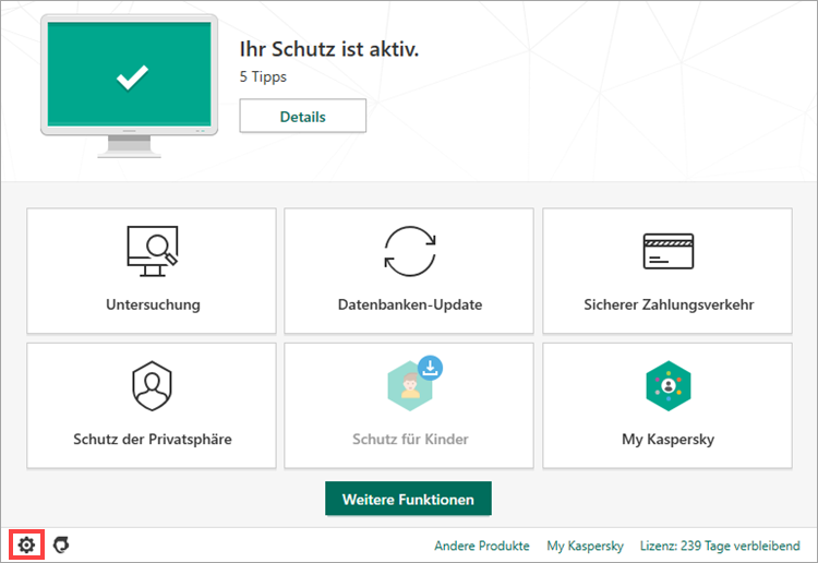 Das Hauptfenster von Kaspersky Internet Security