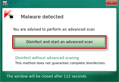 "Das Fenster ""Malware detected"" in Kaspersky Rescue Disk"
