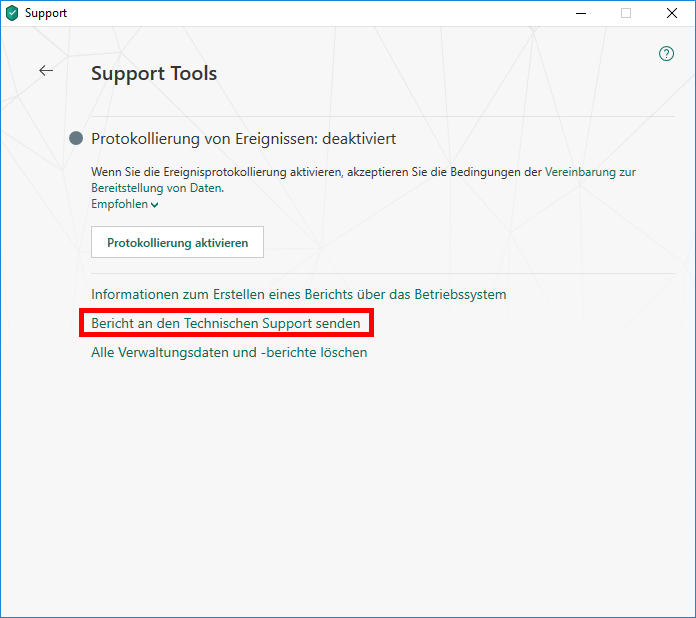 "Das Fenster ""Support Tools"""