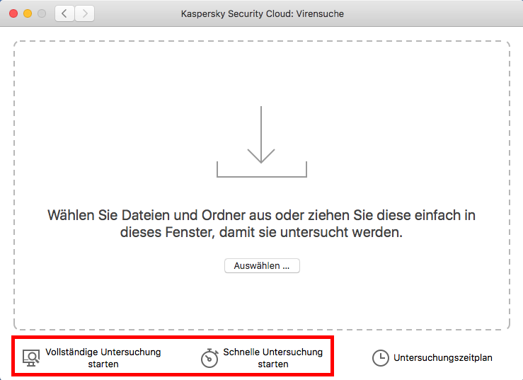 Starten der Virensuche in Kaspersky Security Cloud für Mac