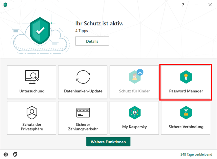 Das Hauptfenster von Kaspersky Security Cloud