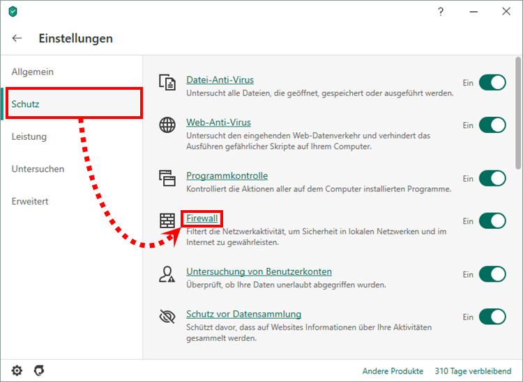 "Das Fenster ""Einstellungen"" in Kaspersky Security Cloud"