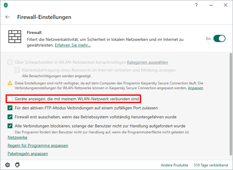 "Das Fenster ""Firewall-Einstellungen"" in Kaspersky Security Cloud"