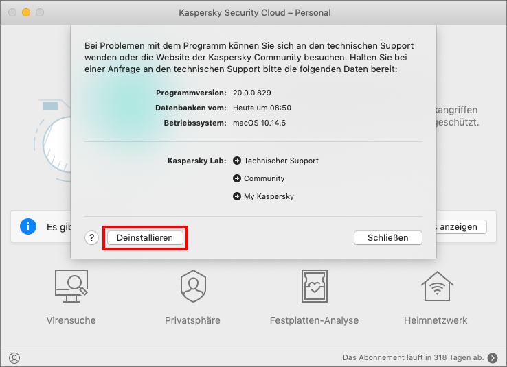 Deinstallation von Kaspersky Security Cloud für Mac