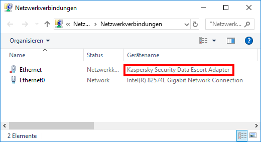 Kaspersky Security Data Escort Adapter in den Netzwerkverbindungen
