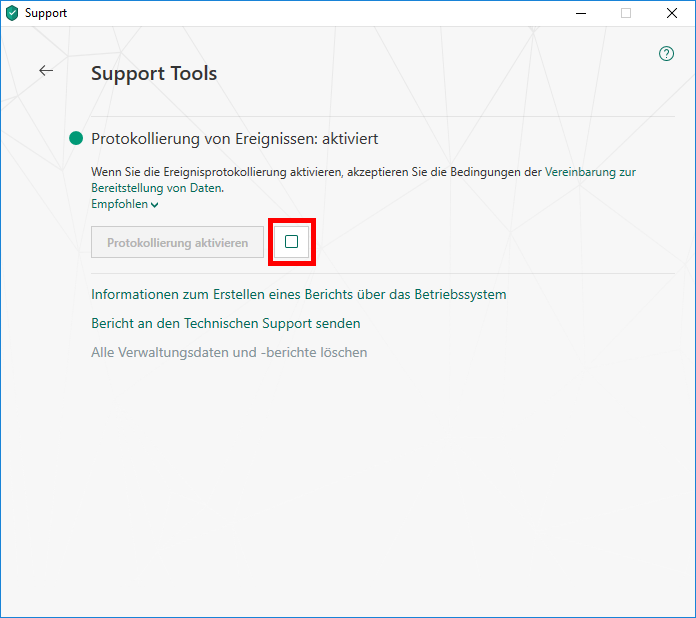 "Das Fenster ""Support Tools"" in Kaspersky Total Security"