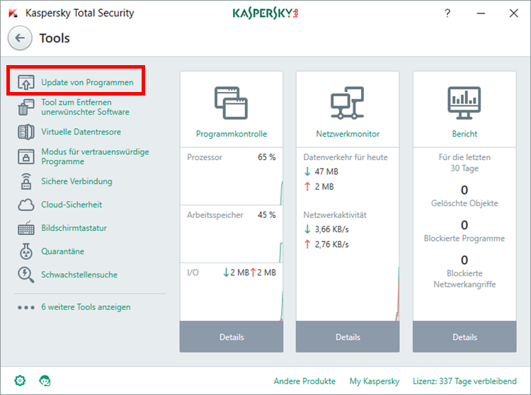 "Abbildung: Das Fenster ""Tools"" in Kaspersky Total Security"