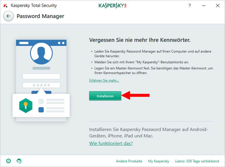 "Abbildung: Das Fenster ""Password Manager"" in Kaspersky Total Security"